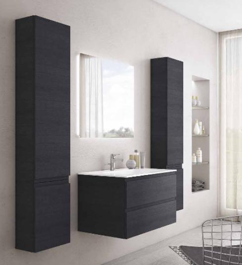 Grifflose italienische Badmöbel-Kombination: Mineralguss-Waschtisch, Unterschrank mit zwei Auszügen, Spiegel mit indirekter LED-Beleuchtung und 2 Hochschränke