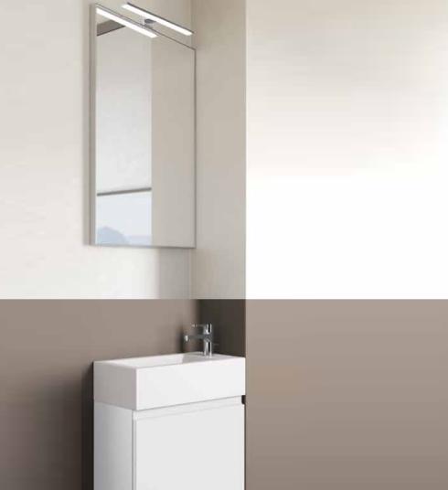 3in1 Badmöbelangebot in Halle/Saale: Spiegel mit Halogenleuchte + Waschtisch (Waschbecken) + Waschtischunterschrank (Waschbeckenunterschrank) für Gästebad mit Möbelfront in Hochglanz Weiß