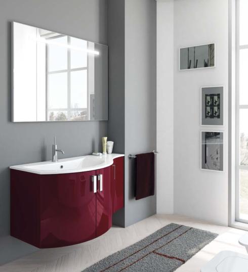 Konkav-Gerundeter Mineralguss-Waschtisch mit Unterschrank und Spiegel mit integriertem Licht