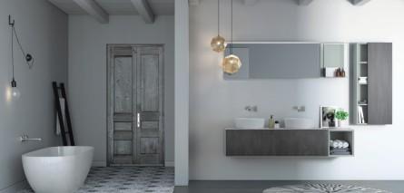 Badstudio in Halle Saale: Badmöbel wandhängend und freistehende Badewanne