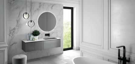 Italienische Badmöbel mit Effektoberfläche in silber