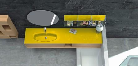 Italienische Badmöbelkombination, wandhängend, Holzoptik, gelb, Glaswaschtisch