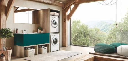 Badmöbel mit integrierter Waschmaschine und Trockner