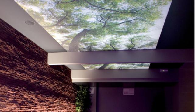 Spanndecke mit Fotomotiv, Swimmingpool © Clipso (Gestaltung: Mona Visa - Architekt: Pieter Thooft)