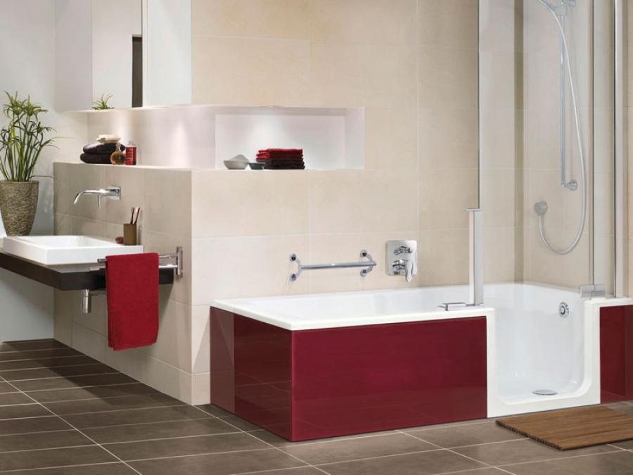 Badewanne mit Tür einbauen, Badsanierung in Halle Saale, Badewanne einbauen in Halle Saale