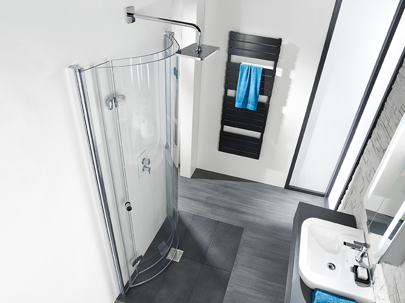 HSK, Dusche, Wandklappbare Duschtüren, ebenerdige Dusche, Runddusche