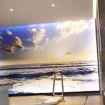 Seitenwand mit Fotomotov, Spanndecke in Halle Saale