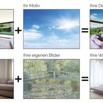 Spanndecke bzw. bespannte Seitenwand mit Fotomotiv, Clipso