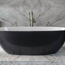 Tiefe und kurvenreiche freistehende schwarze Badewanne kaufen in Halle Saale