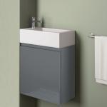 Badmöbelangebot in Halle/Saale: Waschtischunterschrank für Gästebad mit Möbelfront in Hochglanz Anthrazit