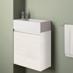 Badmöbelangebot in Halle/Saale: Waschtischunterschrank für Gästebad mit Möbelfront in Holzoptik Lärche Weiß