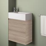 Badmöbelangebot in Halle/Saale: Waschtischunterschrank für Gästebad mit Möbelfront in Holzoptik Ulme Grau