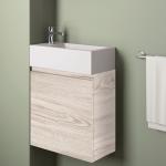 Badmöbelangebot in Halle/Saale: Waschtischunterschrank für Gästebad mit Möbelfront in Holzoptik Birke