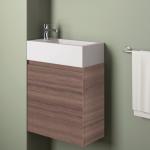 Badmöbelangebot in Halle/Saale: Waschtischunterschrank für Gästebad mit Möbelfront in Holzoptik Eiche Honigfarben