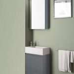 3in1 Badmöbelangebot in Halle/Saale: Spiegelschrank + Waschtisch (Waschbecken) + Waschtischunterschrank (Waschbeckenunterschrank) für Gästebad mit Möbelfront in Hochglanz Anthrazit