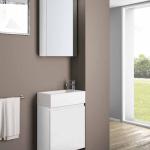 3in1 Badmöbelangebot in Halle/Saale: Spiegelschrank + Waschtisch (Waschbecken) + Waschtischunterschrank (Waschbeckenunterschrank) für Gästebad mit Möbelfront in Hochglanz Weiß