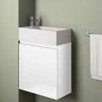 Badmöbelangebot in Halle/Saale: Waschtischunterschrank für Gästebad mit Möbelfront in Hochglanz Weiß