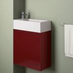 Badmöbelangebot in Halle/Saale: Waschtischunterschrank für Gästebad mit Möbelfront in Hochglanz Dunkelrot
