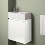 Badmöbelangebot in Halle/Saale: Waschtischunterschrank für Gästebad mit Möbelfront in Matt Weiß