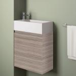 Badmöbelangebot in Halle/Saale: Waschtischunterschrank für Gästebad mit Möbelfront in Holzoptik Lärche Beige