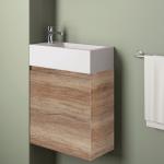 Badmöbelangebot in Halle/Saale: Waschtischunterschrank für Gästebad mit Möbelfront in Holzoptik Eiche Canyon