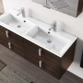 3in1 Badmöbelangebot in Halle/Saale: Spiegelschrank + Doppelwaschtisch (Doppelwaschbecken) + Waschtischunterschrank (Waschbeckenunterschrank) für großes Bad mit Möbelfront in ULME DUNKELBRAUN