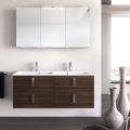 3in1 Badmöbelangebot in Halle/Saale: Spiegelschrank + Doppelwaschtisch (Doppelwaschbecken) + Waschtischunterschrank (Waschbeckenunterschrank) für großes Bad mit Möbelfront in ULME DUNKELBRAUN (Holzoptik)