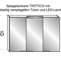 Spiegelschrank TRITTICO mit LEDLeuchte: B 120 x T 14 x H 65 cm