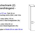 Hochschrank Modell 2 (25 cm oder 35 cm x 35 cm x 177 cm; wandhängend)