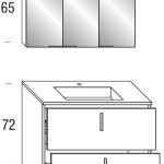 Bodenstehendes Badmöbel + doppelseitig verspiegelter dreitüriger Spiegelschrank