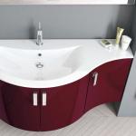 3in1 Angebot für Italienische Badmöbel-Kombination: Konkav-gerundeter Waschtisch + Unterschrank mit 3 Türen + Spiegel LIGHT mit integriertem Neonlicht in DUNKELROT