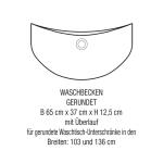 3in1 Angebot für Italienische Badmöbel-Kombination mit gerundetem Waschbecken (Maßskizze)