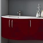 3in1 Angebot für Italienische Badmöbel-Kombination: Konkav-gerundeter Waschtisch + Unterschrank mit 3 Türen + Spiegel LIGHT mit integriertem Neonlicht - Beispielfront Hochglanz DUNKELROT - Griffvariante 2 (ohne Aufpreis)