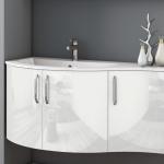 3in1 Angebot für Italienische Badmöbel-Kombination: Konkav-gerundeter Waschtisch + Unterschrank mit 3 Türen + Spiegel LIGHT mit integriertem Neonlicht - Beispielfront Hochglanz WEISS - Griffvariante 2 (ohne Aufpreis)