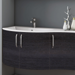 3in1 Angebot für Italienische Badmöbel-Kombination: Konkav-gerundeter Waschtisch + Unterschrank mit 3 Türen + Spiegel LIGHT mit integriertem Neonlicht - Beispielfront HOLZOPTIK / HOLZSTRUKTUR EICHE ANTHRAZIT - Griffvariante 2 (ohne Aufpreis)