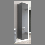 Beispielfoto für Hochschrank der Serie (35 cm x 35 cm x 165 cm) mit Möbelfront 152X Anthrazit (Hochglanz, glatte Oberfläche)