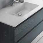 3in1 Badmöbelangebot in Halle/Saale: Spiegelschrank + Waschtisch (Waschbecken) + griffloser Waschtischunterschrank (Waschbeckenunterschrank) für mittelgroßes Bad mit Möbelfront in Hochglanz Anthrazit