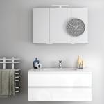 3in1 Badmöbelangebot in Halle/Saale: Spiegelschrank + Waschtisch (Waschbecken) + griffloser Waschtischunterschrank (Waschbeckenunterschrank) für mittelgroßes Bad mit Möbelfront in Hochglanz Weiß