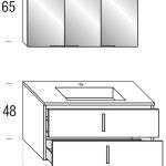 Maßskizze der Badmöbelkombination