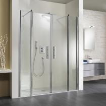 Badsanierung: Ebenerdige Dusche mit Pendeltür Raumnische, 4-teilig