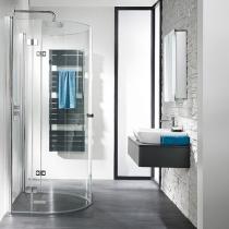 Dusche umbauen auf ebenerdigen Zugang: Runddusche Halbkreis mit Drehfalttür