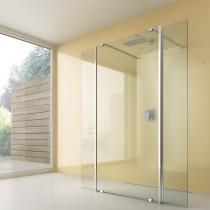 Beispielfoto für Dusche vor der Wand mit 2 beweglichen Spritzschutz-Flügeln