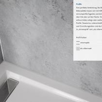 Nahezu fugenlose XXL-Duschrückwand: RenoDeco-Dekorplatten mit Aluminiumprofilen