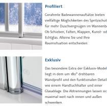 Beispielfoto für Scharniertypen für Badewannentür / Badewannenspritzschutz