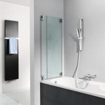 Rahmenloses Duschvergnügen: Badewannenaufsatz aus 8 mm Sicherheitsglas mit 2 bewegliche Elemente