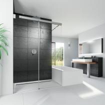 Beispielfoto für Duscheinbau neben Badewanne: Walk In Dusche mit Schiebetür