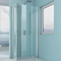 Beispielfoto für Glasdusche mit Falttür als Fensterlösung (kann 90 Grad weggeklappt werden)
