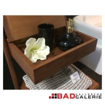 Seifenspender und Mundspülbecher aus Keramik in schwarz / gold (Beispielfoto für Badaccessoires aus unserer Badausstellung)