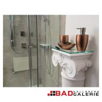 Seifenspender, Mundspülbecher und Seifenschale in Kupfer-Optik (Beispielfoto für Badaccessoires aus unserer Badausstellung)