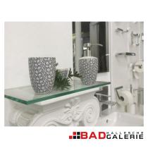 Seifenspender, Mundspülbecher und Dose für Badutensilien aus Keramik in weiß / dunkelblau (Beispielfoto für Badaccessoires aus unserer Badausstellung)